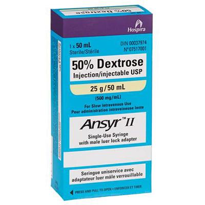 50% Dextrose Injection Sterile 25g/50 ml (500mg/ml) - Single Use Syringe Preloaded