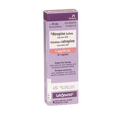 Atropine Sulfate Injection USP Single Use Syringe 1mg/10mL Preloaded