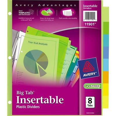 Avery® Big Tab(TM) Insertable Plastic Dividers, 8-Tab Set, Multicolor (11901)