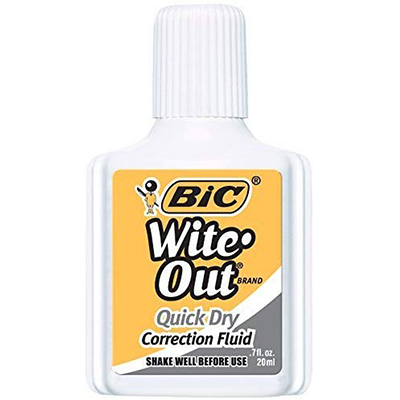 BiC White-Out Quick Dry Correction Fluid, White (Pack of 6)