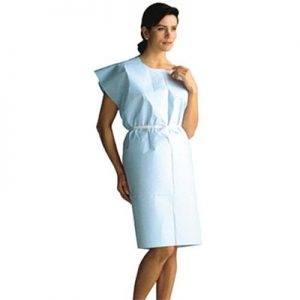 "Exam Gown Knee-Length BLUE 30""x 42"" 3 Ply 50/case"