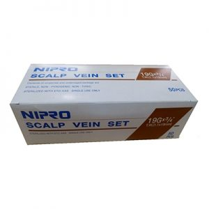"""Nipro Standard Butterfly Infusion Set 19G x 3/4"""" - 12"""" Tube 50/box (brown)"""