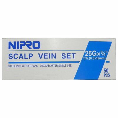"Nipro Standard Butterfly Infusion Set 25G x 3/4"" - 12"" Tube - Blue 50/box"