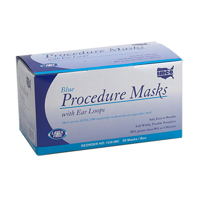Procedure Face Mask 3-Ply w Earloop (Latex-free, Blue)