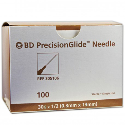 """BD™ PrecisionGlide™ Needle 30G x 1/2"""" Non-Safety (brown)"""