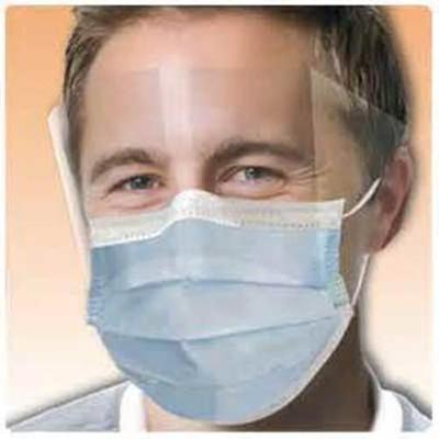 Earloop Mask with Fluid Shield, Blue 25/box