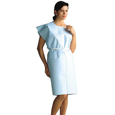 """Exam Gown Knee-Length BLUE 30""""x 42"""" 3 Ply 50/case"""
